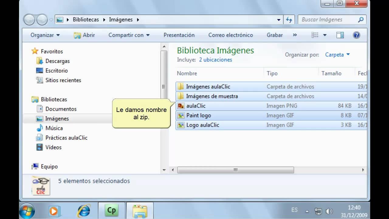 Curso De Windows 7 Descomprimir Archivos De Un Zip