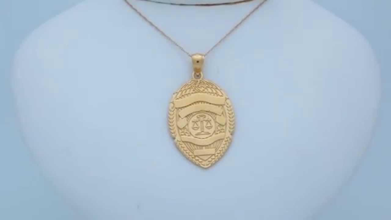 Gold plated 925 sterling silver police badge pendant az11151gpdz gold plated 925 sterling silver police badge pendant az11151gpdz youtube mozeypictures Choice Image