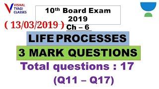 10th Science : Ch-6 !! 3 marks Imp. Quest (Q11-Q17) !! Life Processes !! Vishal Tyagi