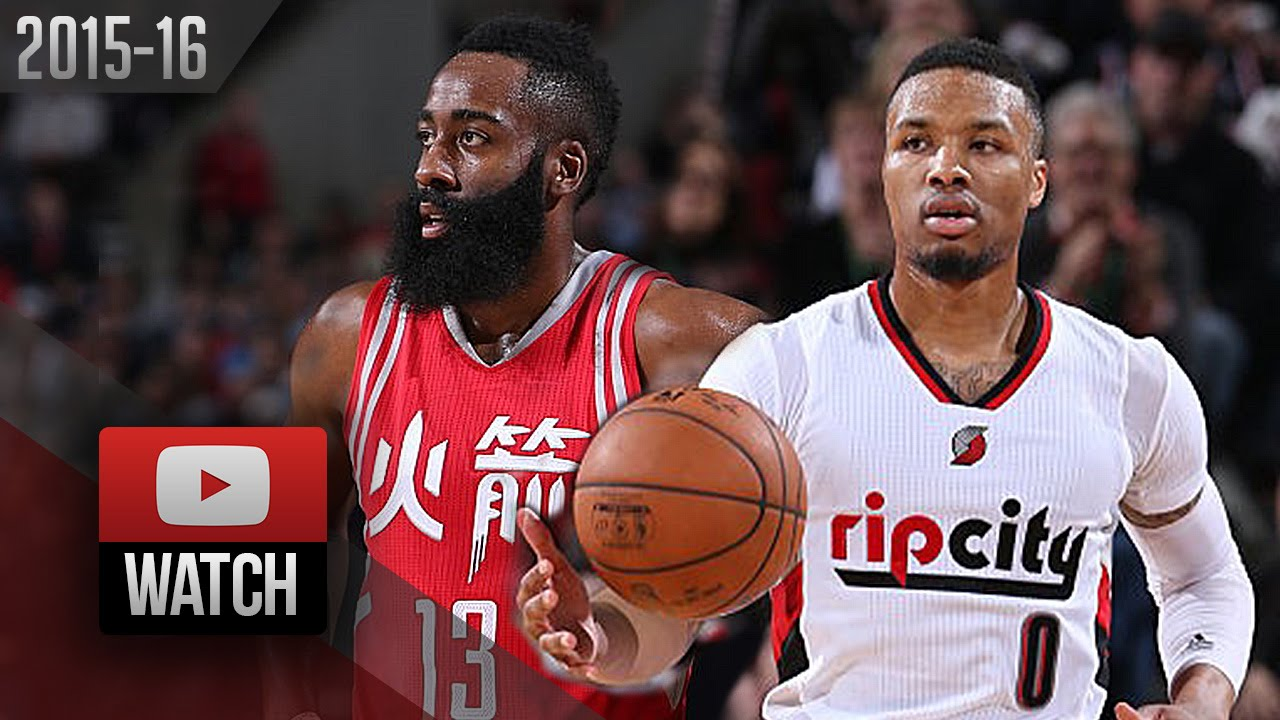 2ed32cb2a9c Damian Lillard vs James Harden SICK DUEL Highlights (2016.02.10) Blazers vs  Rockets - 64 Pts