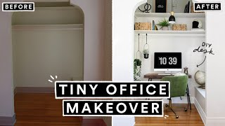 DIY Small Office Makeover ON A BUDGET! (DIY Desk + Organization Ideas)