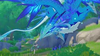 4K 플스5 원신 인게임 초반 그래픽 푸른눈 백룡과 기…