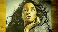 Dramatic Woman Pastel Pencil Time Lapse Drawing