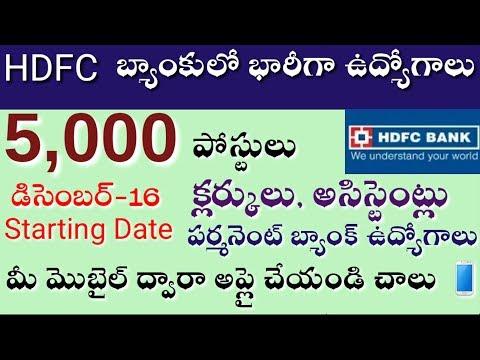 HDFC బ్యాంకులో 5,000 పర్మనెంట్ ఉద్యోగాలు  HDFC Bank Jobs 2019 - 2020
