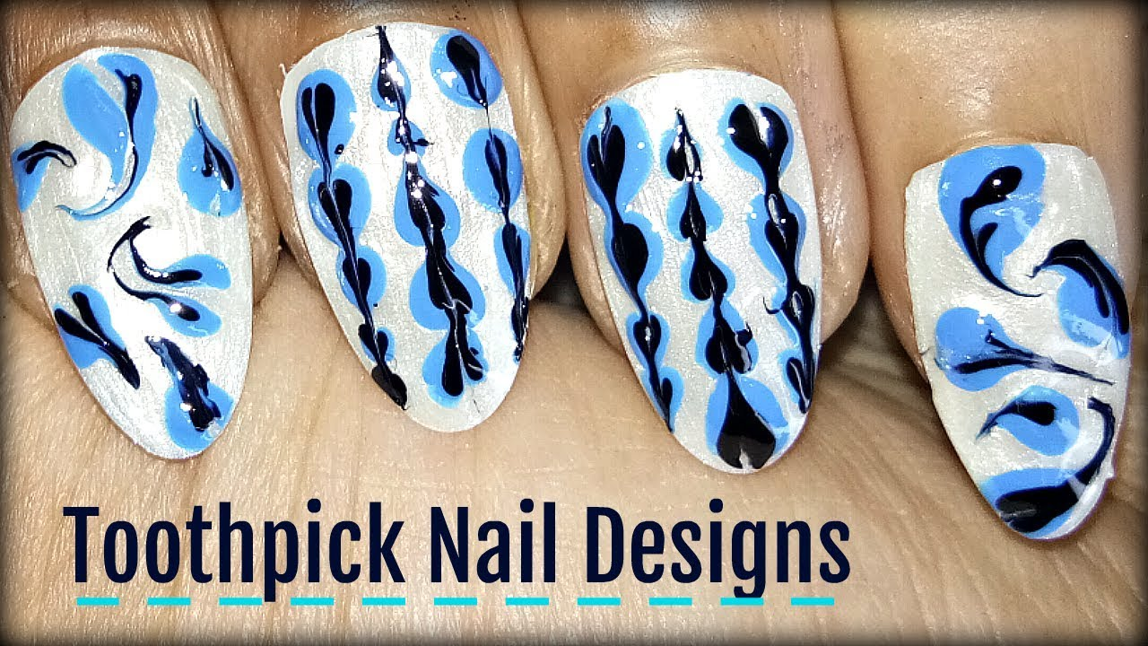 Toothpick Nail Art Easy Nail Art Designs Tutorial For Beginners Using A Toothpick Youtube
