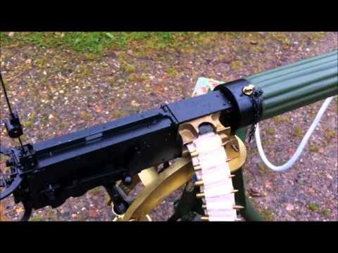 Replica Vickers machine gun with gunfire...