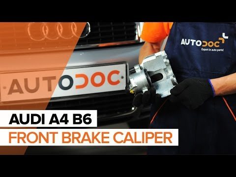 How to change a front brake caliper on AUDI A4 B6 TUTORIAL | AUTODOC