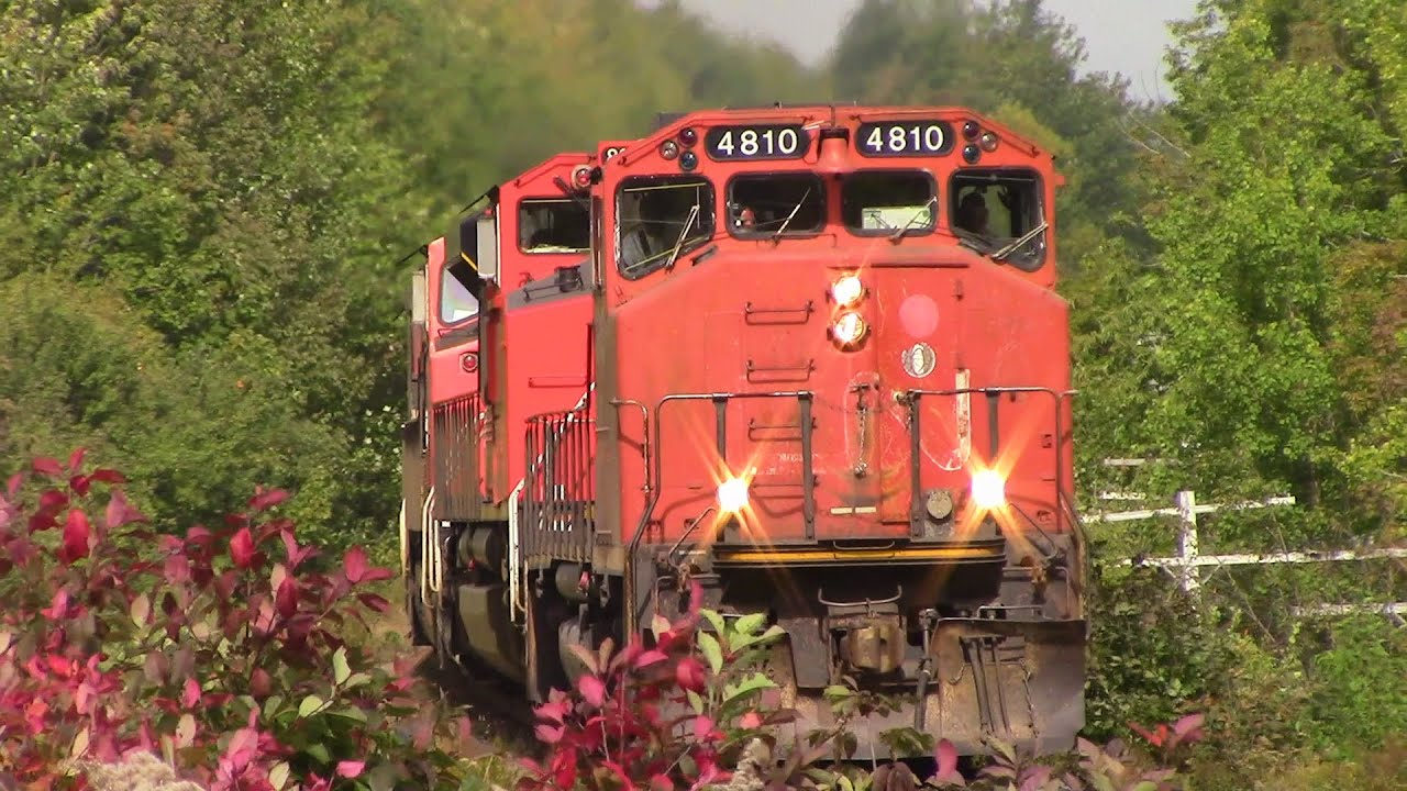 Very Rare!! GP38-2W 4810 Leading CN Stack Train 120 at Fall River, NS (Sept 30, 2015)
