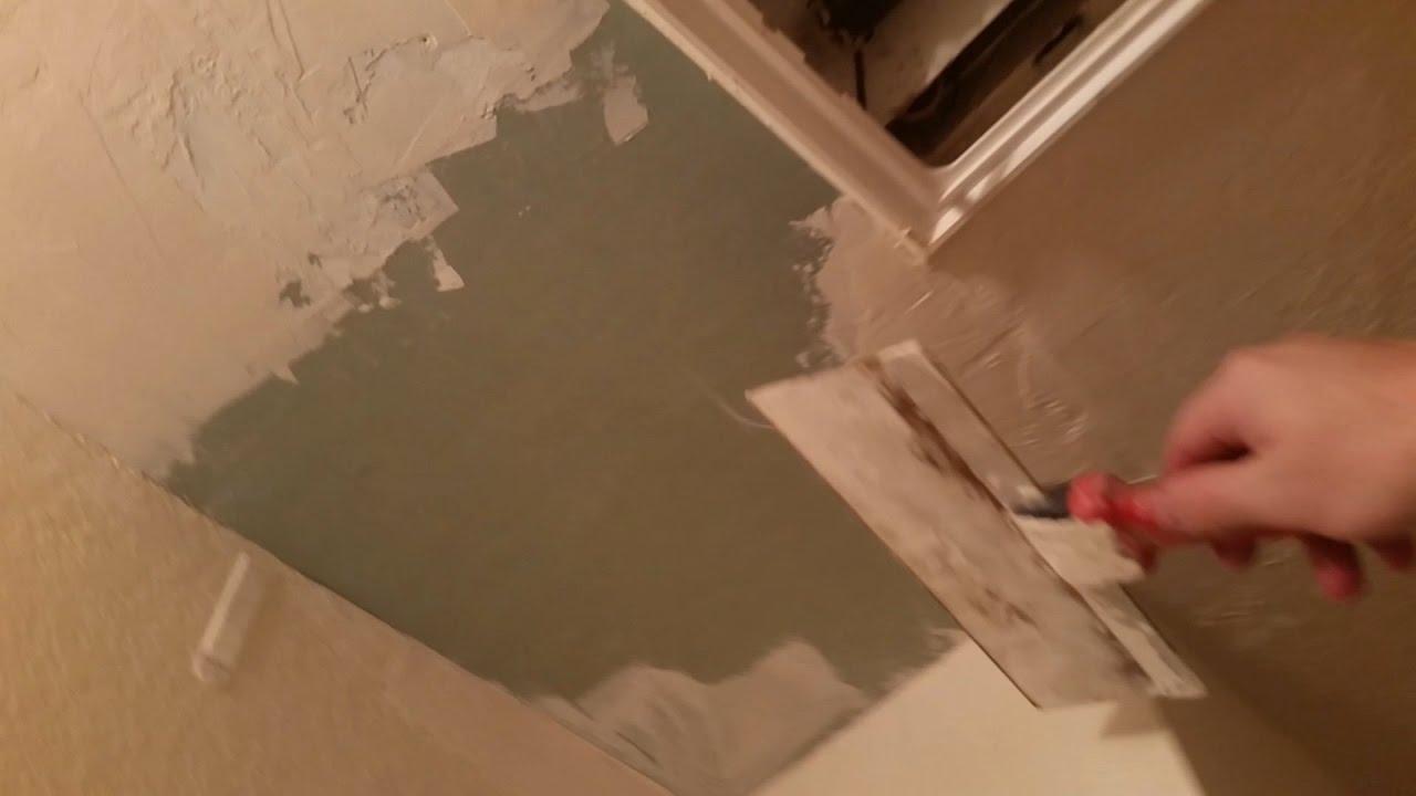 Repairing ceiling drywall Bad Replacing Water Damaged Bathroom Ceiling Drywall Patching Texturing Paintingto Blend Diy Network Replacing Water Damaged Bathroom Ceiling Drywall Patching Texturing