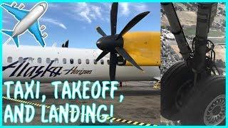 Alaska Airlines (Horizon Air) Bombradier Q400 Propeller Plane Taxi, Takeoff, and Landing