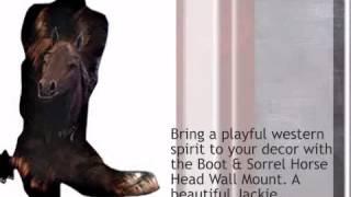 Boot & Sorrel Horse Head Wall Mount - lonestarwesterndecor.com