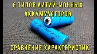 6 типов литий ионных аккумуляторов.Сравнение характеристик.