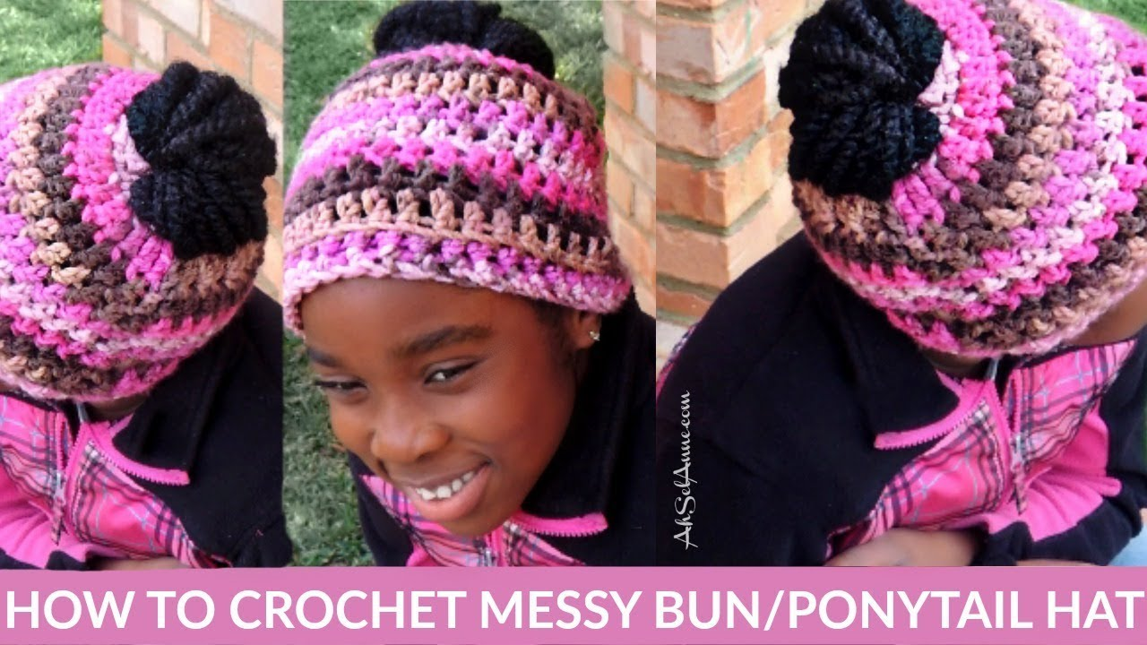 HOW TO CROCHET A MESSY BUN HAT BEANIE FOR BEGINNERS - YouTube 0936425119c