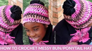 HOW TO CROCHET A MESSY BUN HAT/BEANIE FOR BEGINNERS