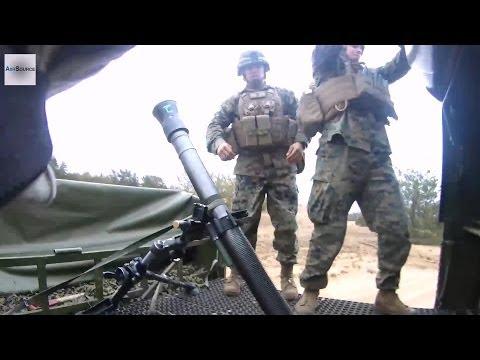 US Marines Setup 82mm Mortars on Latvian Bandvagn 206