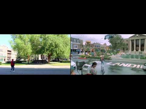 Back to the Future Courthouse Square Film Set  (then & now)