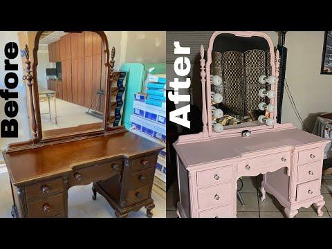 Vintage vanity makeover | pink vanity | DIY vanity