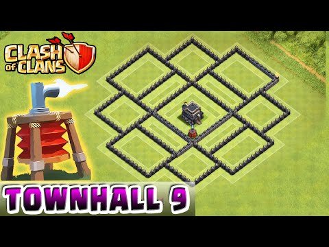 Clash of Clans - AIR SWEEPER DEFENSE STRATEGY - Townhall Level 9 Hybrid (TH9 Defense Strategy)