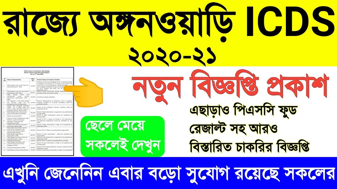 West Bengal ICDS new update 2020-21, icds supervisor latest update, psc food results date, psc icds
