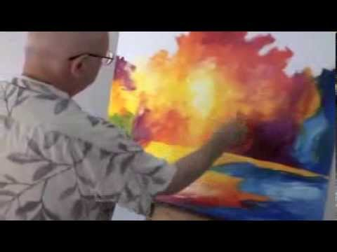 Leonid Afremov painting a recreation of Sun Of January