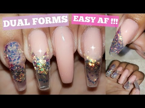 HOW TO DO EASY  Designs with DUAL FORMS IN 20 MINUTES!! THE EASIEST METHOD w/ ACRYLIC!!