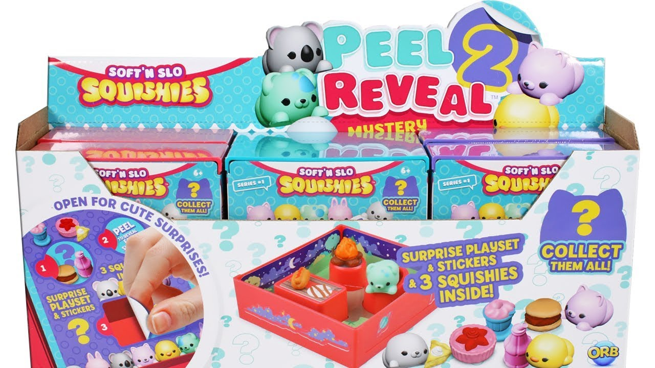 Squishy Mushy Series 3 : Soft  N Slow Squishies Peel 2 Reveal Mystery Figure Playsets Series 1 Unboxing Toy Review - YouTube