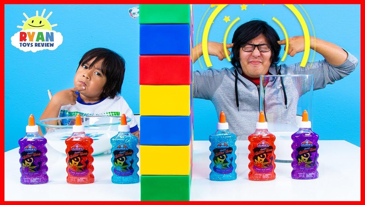 Twin Telepathy Slime Challenge Ryan Vs Daddy Youtube