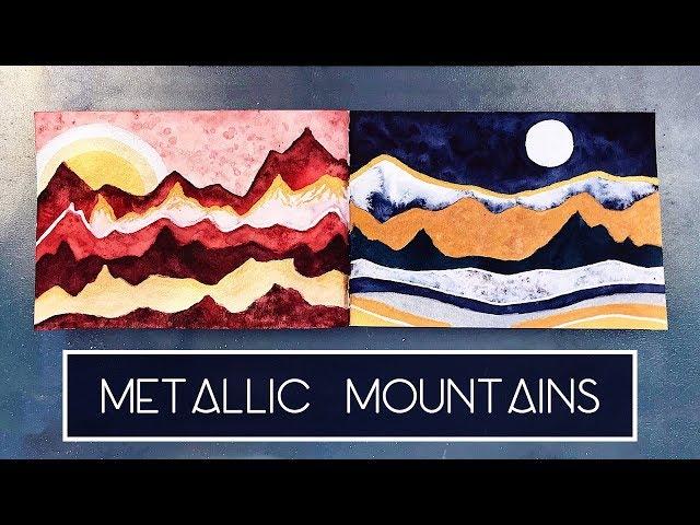 Metallic Mountains | Time Lapse Watercolour Speed Painting