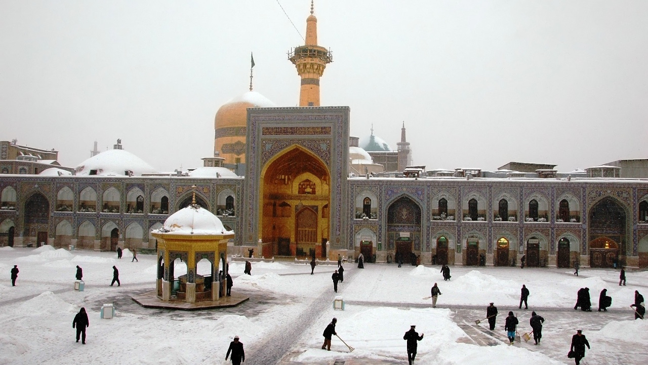 Maula Ali Shrine Wallpaper: Shrine Hazrat Imam Ali Reza In Mashhad, Iran Snow Fall