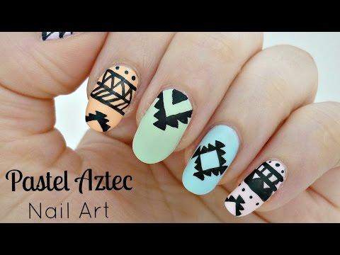 Pastel Aztec Pattern Nail Art!