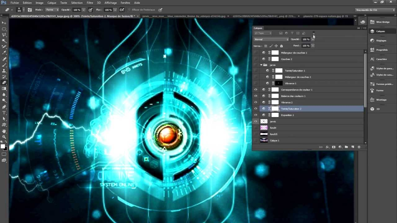 Jarvis High Tech Speed Art (Photoshop CS6 - Gimp 2.0) - YouTube
