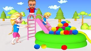 Baby Pretend Play w/ Inflatable POOL ❤ Babies Play Cartoons For Kids ❤ Animation