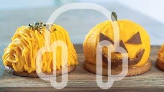 [ASMR]Jack-o'-Lantern cake  Pumpkin mont blanc ジャックオランタンケーキ かぼちゃのモンブラン