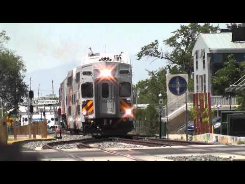 New Mexico Rail Runner Express approaching Santa Fe Station