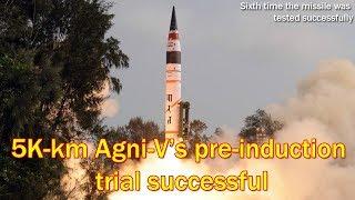 India successfully test-fires Agni-5 nuclear-capable ballistic missile
