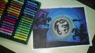 Making a moonlight scenery with oil pastels for beginners.
