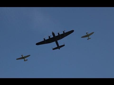 BBMF Lancaster, Spitfire & Hurricane flypast at RAF Northolt