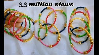 Thin bangle set - Making with silk thread | jewellery tutorials