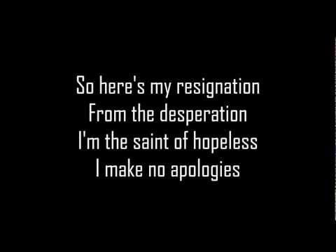 Sum 41 No Apologies (lyric)