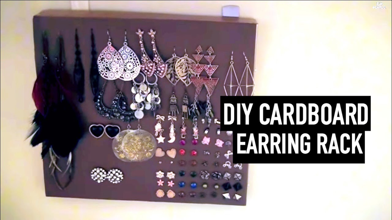 Easy DIY Earring Rack CardboardAthome Materials YouTube