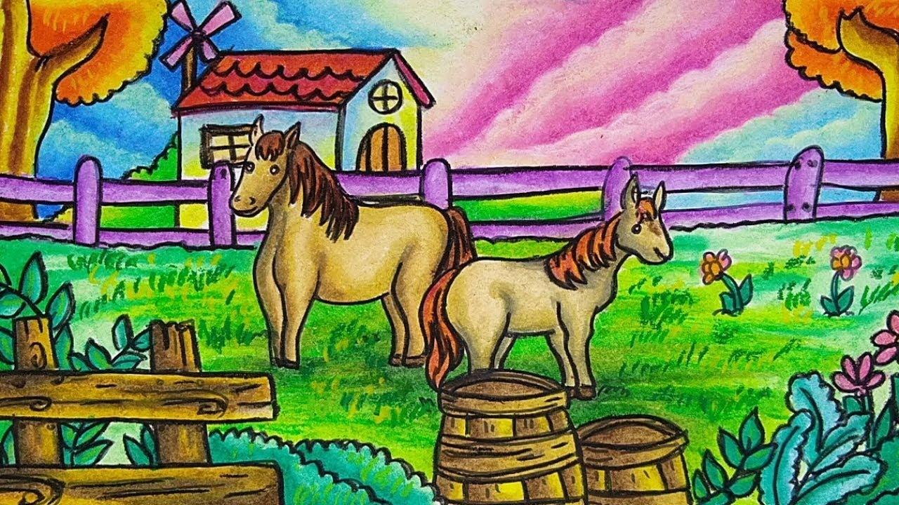 Cara Menggambar Dan Mewarnai Tema Pemandangan Peternakan Kuda Yang Bagus Dan Mudah PART 2