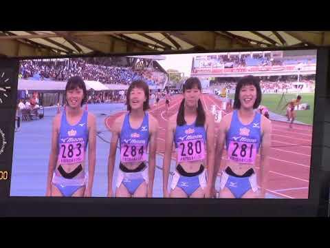 2018日本インカレ陸上 女子4×100mR選手入場
