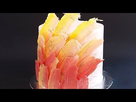 Feathered Chocolate Shard Cake Tutorial- Rosie's Dessert Spot - 동영상