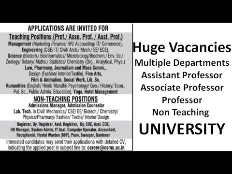 Huge Recruitment in University | Assistant professor | PG with/with out UGC NET/PhD | Pay Scale