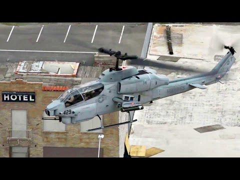 Marines AH-1 SuperCobra \u0026 UH-1Y Huey Helicopters Land In Downtown Phoenix
