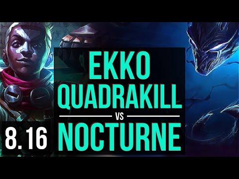 EKKO vs NOCTURNE (MID) ~ Quadrakill, KDA 15/1/7, Legendary ~ Korea Diamond ~ Patch 8.16
