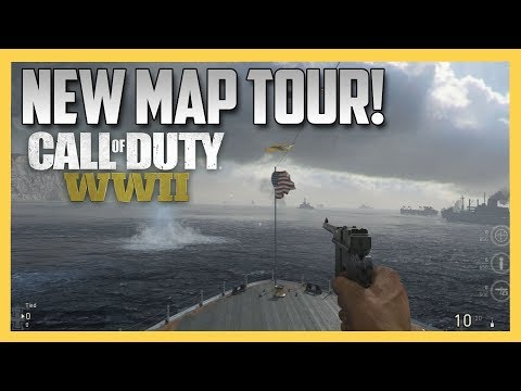 COD WW2 New Map Tour! U.S.S. Texas, Gustav Canon, London Docks & More!