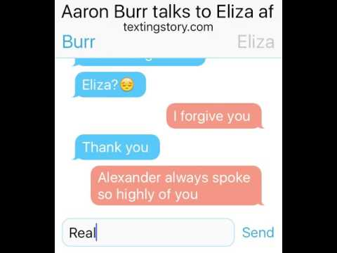 Aaron Burr talks to Eliza after the duel