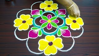 simple flower colour muggulu with 9x1 dots rangoli for beginners cute beautiful kolangal