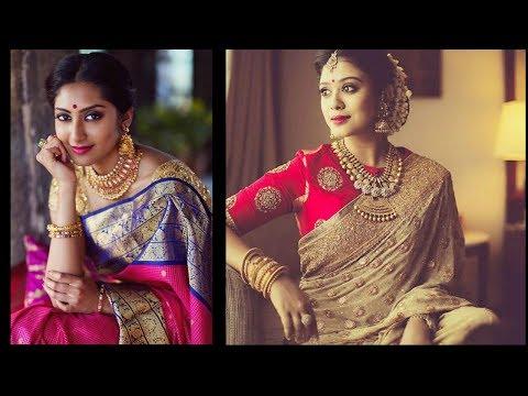 Stunning Jewellery of South Indian Brides in Kanjeevaram Silk Sarees | Gold Diamond Jewellery